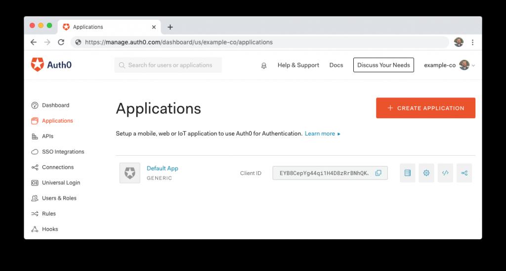 lista de aplicaciones Auth0